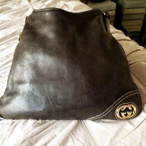 Gucci Bags - GUCCI❤AUTHENTIC BLACK LEATHER BRITT HOBO